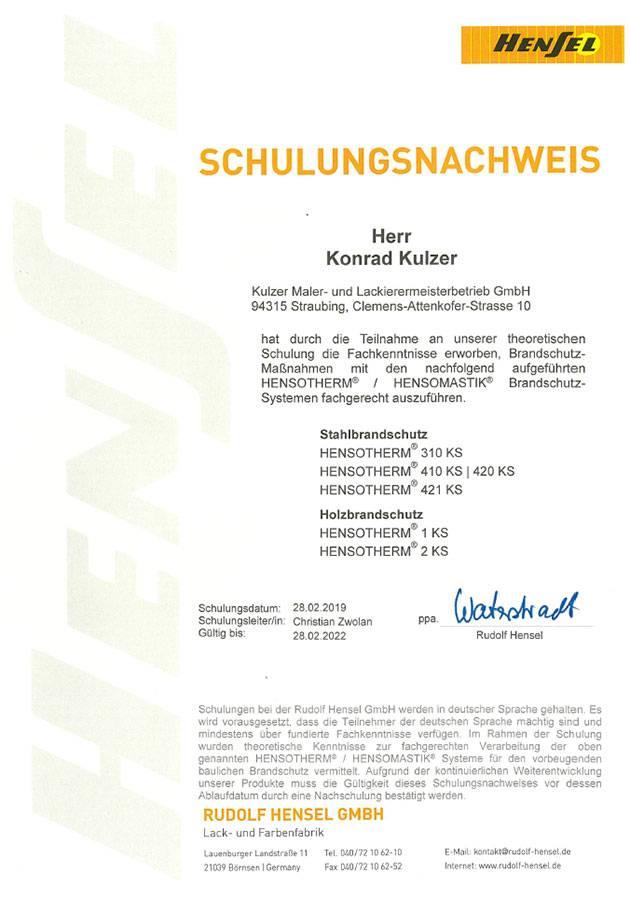 Schulungsnachweis von Konrad Kulzer