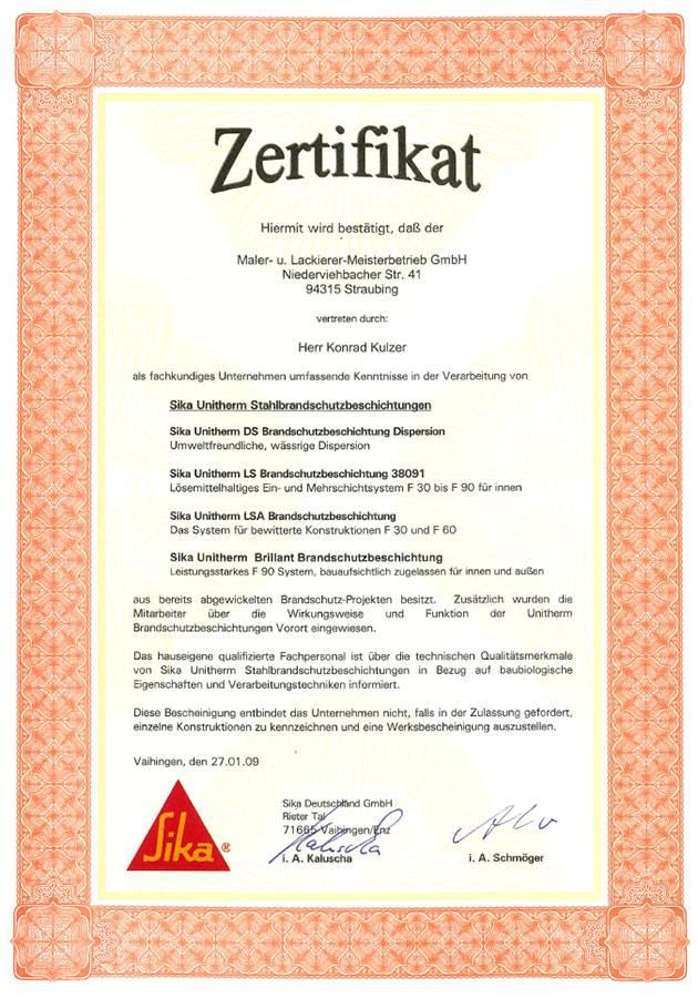Zertifikat von Konrad Kulzer aus Straubing